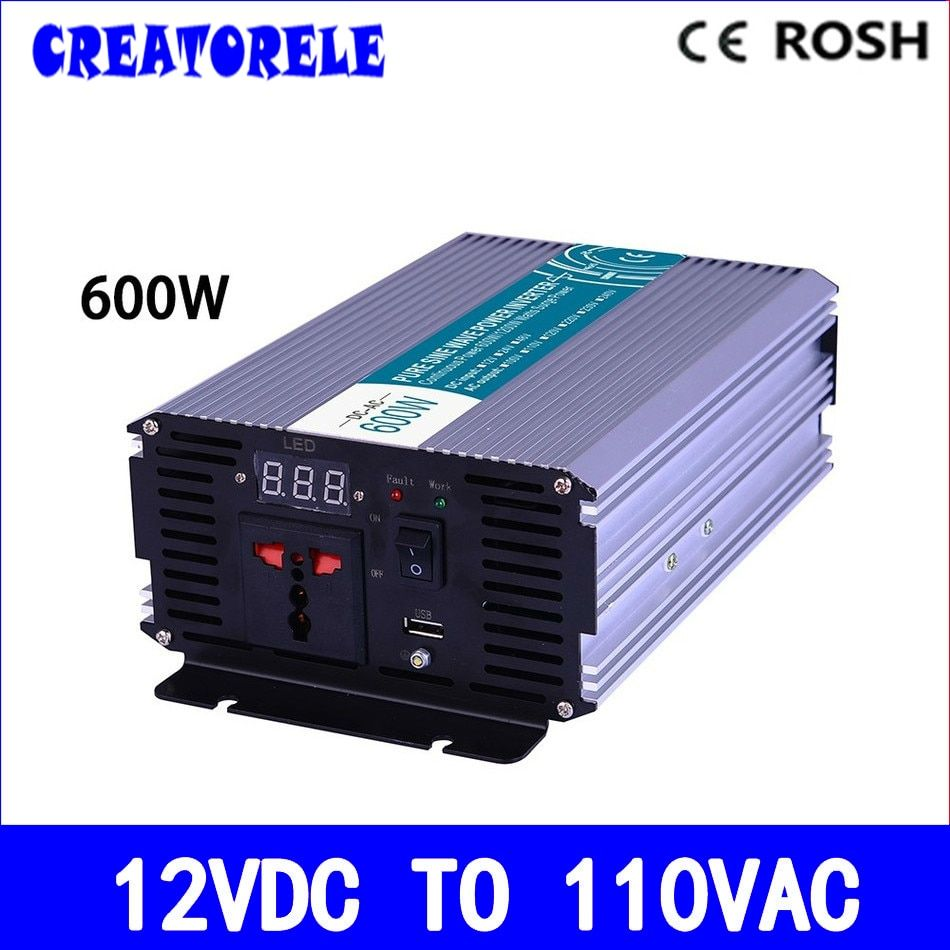 P600-121 600w  pure sine wave powerr inverter 12v to 110v voltage converter,solar inverter pure sine wave