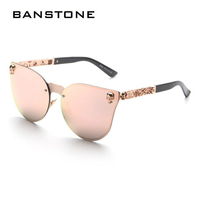 BANSTONE Men Women Fashion Skull Design Gothic Sunglasses  Cool Street Snap Sunglasses UV400 Metal Frame Oculos De Sol Gafas