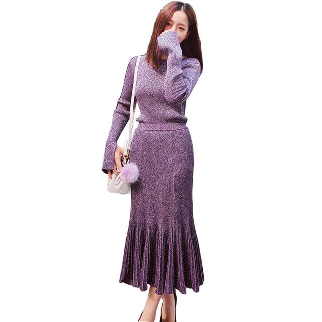 2017 New Winter 2 Pieces Korean Sweater Sets Round Collar Tops + Sexy Body Con Fishtail Skirt Elegant Knitted Jumpers Ss703