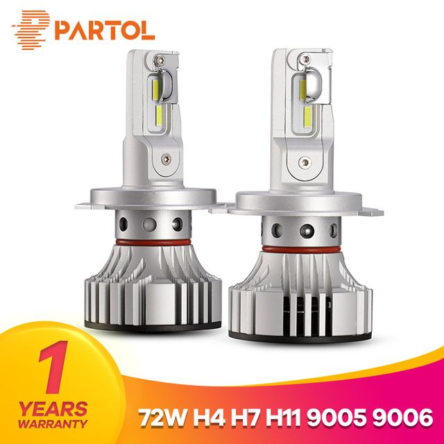 Partol F2 H4 Hi Lo Beam Car LED Headlight Bulbs 72W 6000LM LED H7 H11 9005 9006 Car Lights Automobile DRL Lamp 6500K 12V 24V