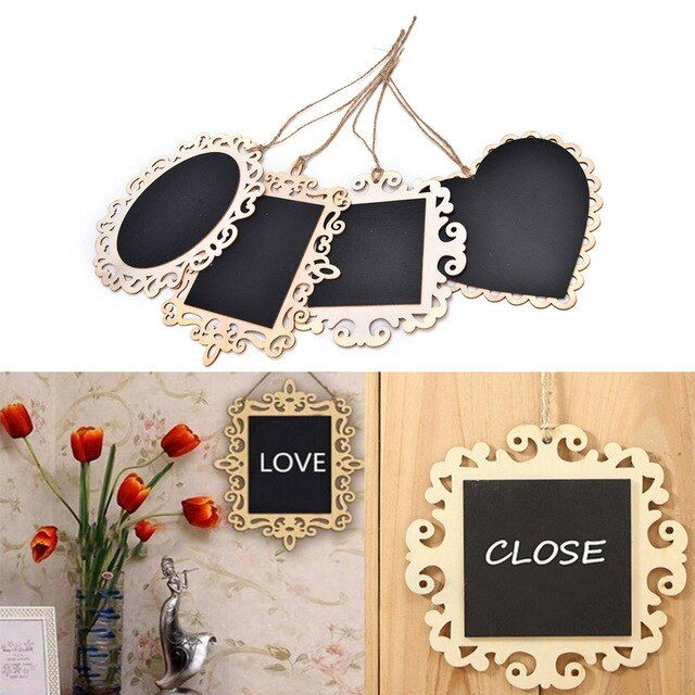 1PC wooden Blackboard on Place For Wedding Party Decorations chalkboards Message board Vintage Hanging Wood Mini Blackboard
