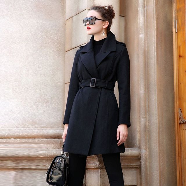 New Women Winter Wool Jacket Coat Oversized Black Long Winter Coat Elegant Woolen Slim Manteau Femme Blends Jacket AO052