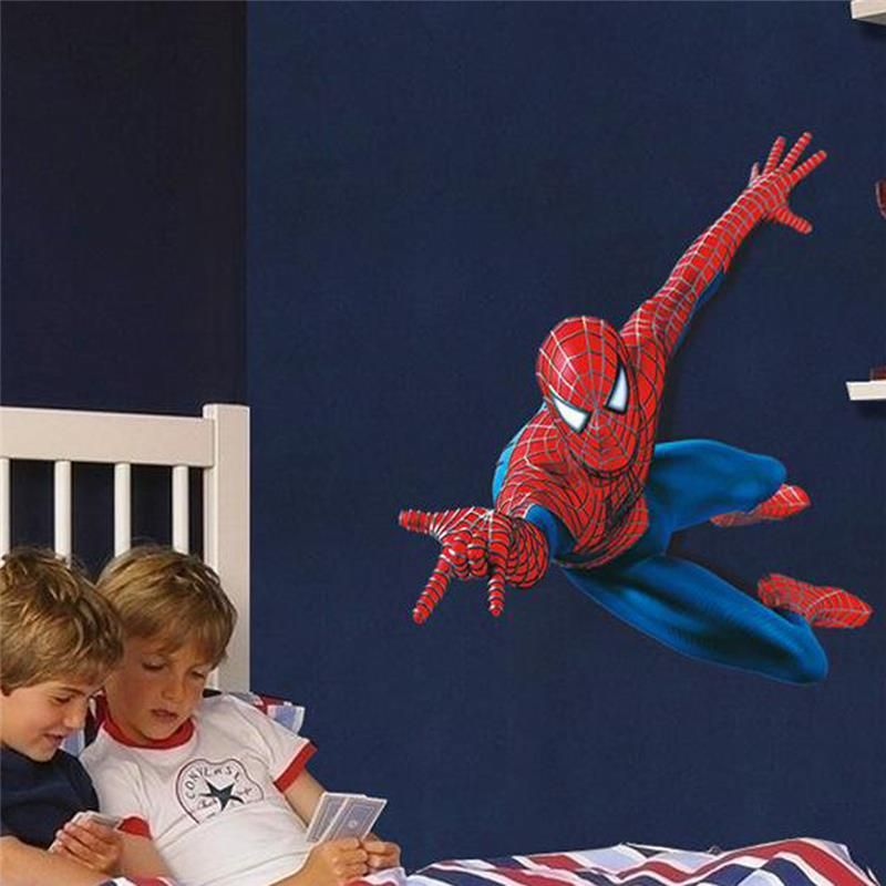 spider man super heros wall stickers for kids room decorations 1937. diy pvc cartoon movie home decals 3d mural art posters 3.5