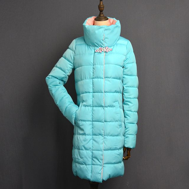 winter jacket women flower Rhinestone mid-long parka Cotton-padded Outwear 4 colors womens winter jackets and coats 2016