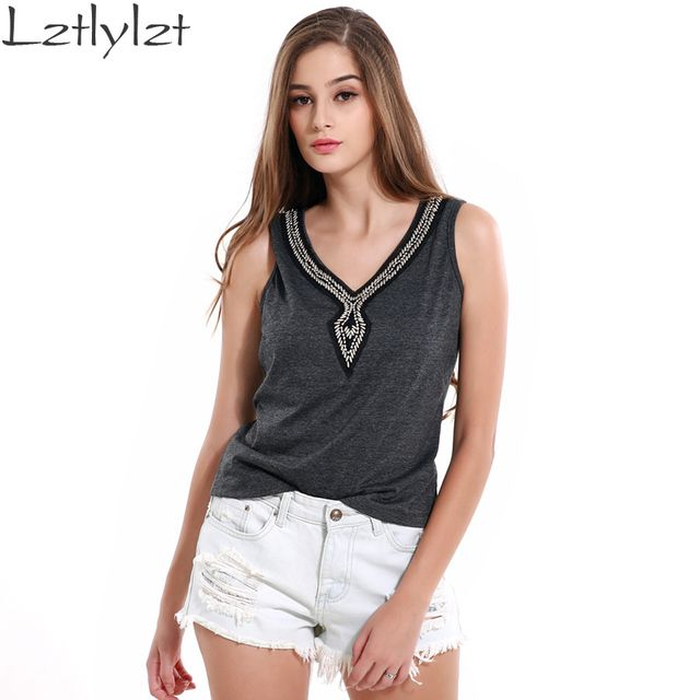 Womens Summer T-shirt Dark Gray V-neck Fashion Crochet Tops Sexy Sleeveless Beading Camisole Vest Cami Knitted Clothing Female