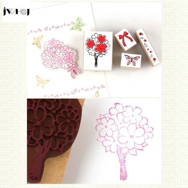 4 pcs/set Little bear Paw print wooden rubber stamp Kids DIY Handmade Scrapbook Photo Album, students Stamp Arts, Crafts