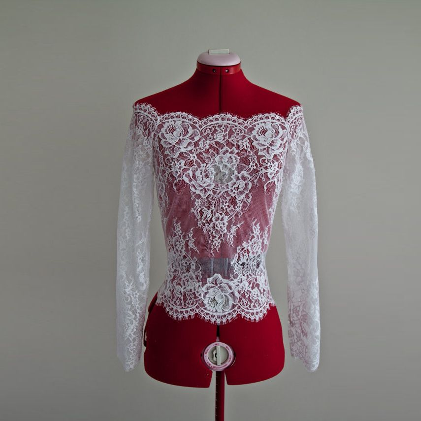 Custom Made Wedding Lace Bolero Scalloped Neckline Long Sleeve Lace Jackets Bolero Wedding Shrug Bride Wraps