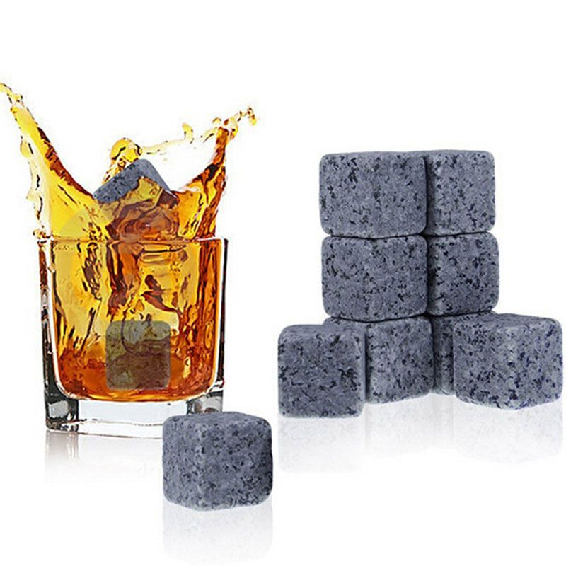 9PCS New Ice Mould Rocks Cold Glacier Stone Magic Whisky Cooling Stone Rocks Glacier Cold Ice Mold Bar Home Beer Drink Cooler