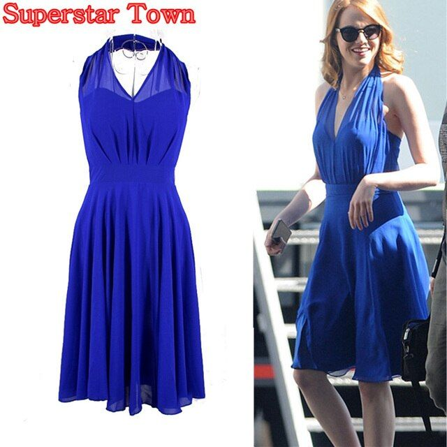 La La Land Dress Emma Stone Mia Cosplay Blue Backless Elegant Women Long Dresses V-neck Costumes Superstar Town