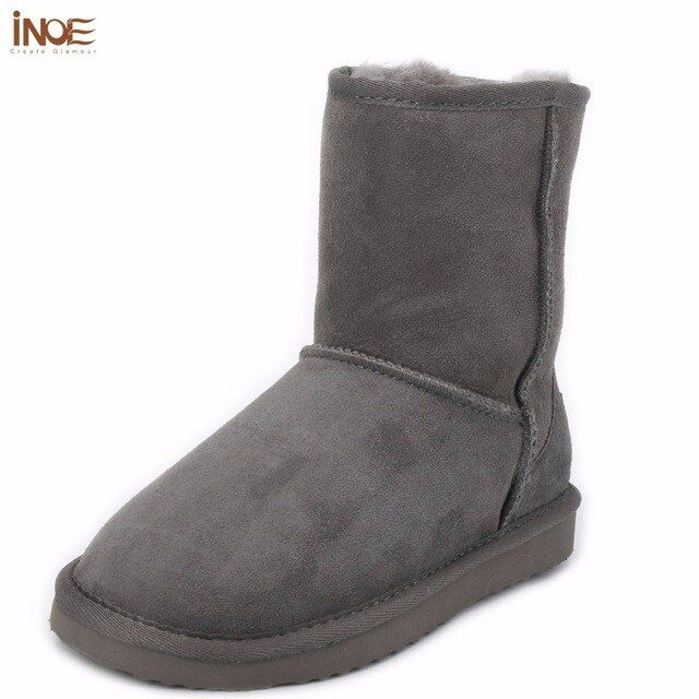 INOE real sheepskin leather suede man winter snow boots for men sheep fur lined winter shoes high quality brown black gray 38-44