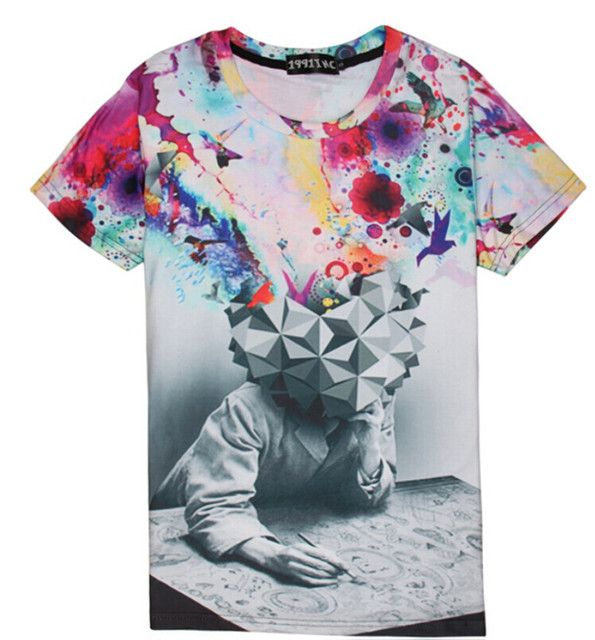 Hot Sale ! 2015 New Fashion Mens/Womens Thinking of Scholars 3D Colorful Print Round Neck Casual Shirts Short Sleeve T-shirts