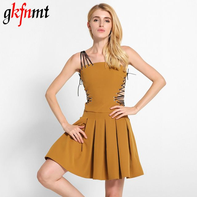 gkfnmt Sexy Women Bandage Dress Sleeveless Backless Hollow Out Mini A-line Club Vestidos Summer Dresses 2017 New Fashion