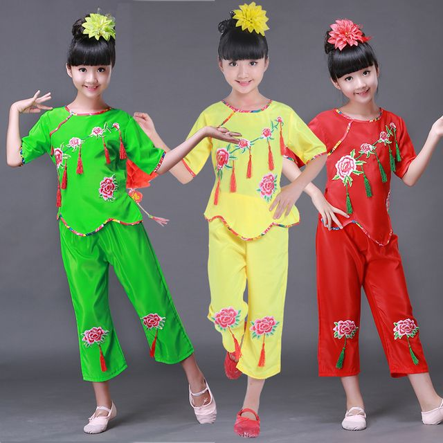 Chinese Folk Dance Yangge Dance Custome Children's  Waist Drum Performances  Girl Chinese Knot Classical Folk Dancing Costumes
