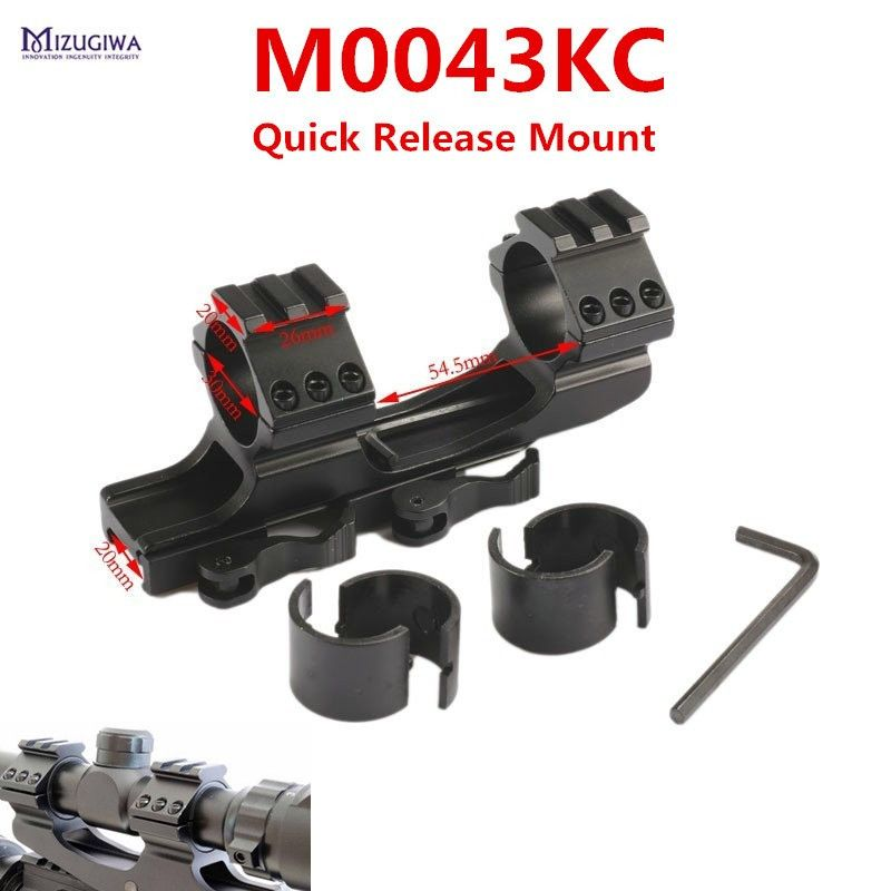 "MIZUGIWA Quick Release Cantilever Heavy Duty Scope Mount 30mm/1"" Dual Ring Flat Top Rifle Scope Mount Picatinny Rail Hunting"