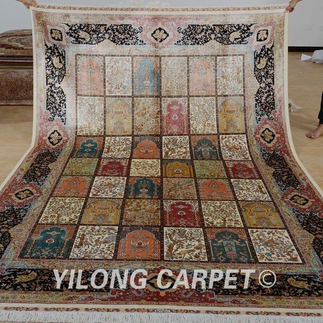 Yilong 6.56'x9.84' turkish design area rug Oriental four seasons silk carpet (0776)