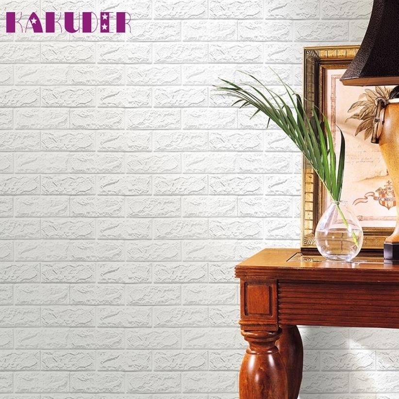 PE Foam 3D Wallpaper DIY Wall Stickers Wall Decor Embossed Brick Stone Levert Dropship feb28