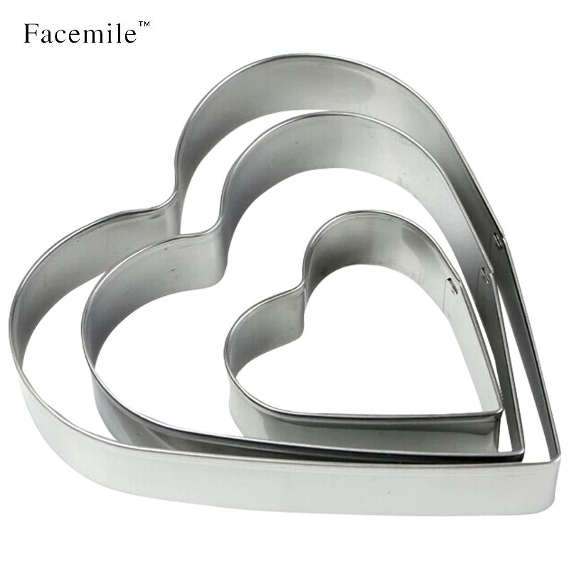 Facemile 3Pcs Stainless Steel Heart Shaped Gift Cookie Mould Cutting Mould Fondant Pastry Sugar Cutter Mould Baking Tools 01016