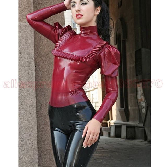 Rubber Latex  Women Blouse  Latex  Fetish Shirts Costumes with Back  Zip LSW016
