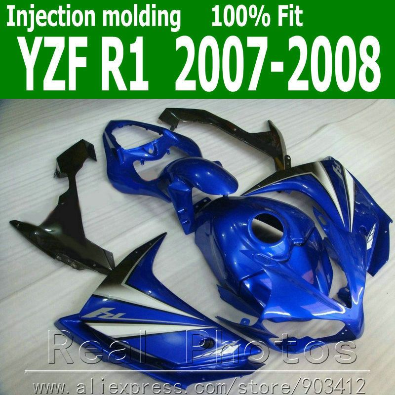 100% Injection molding plastic body kits for YAMAHA R1 fairing kit 2007 2008 blue black fairings set YZF R1 07 08 NB73