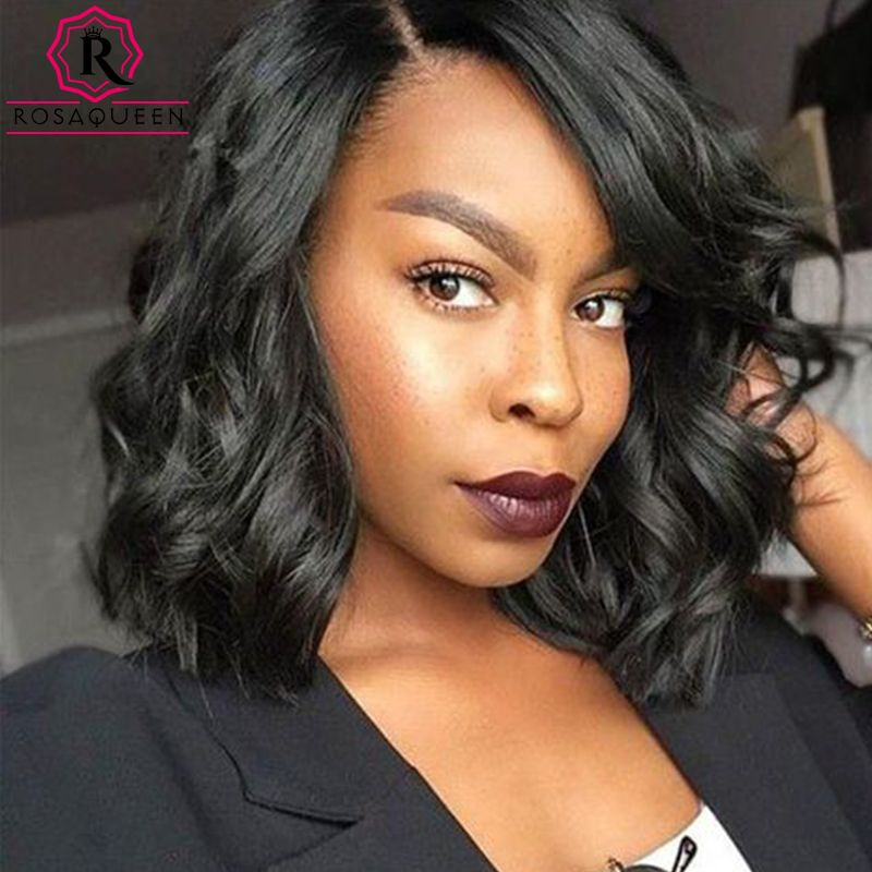 7A Short Human Hair Bob Wigs Full Lace Human Hair Wigs For Black Women Bob Wig Virgin Brazilian Wavy Lace Front Human Hair Wigs