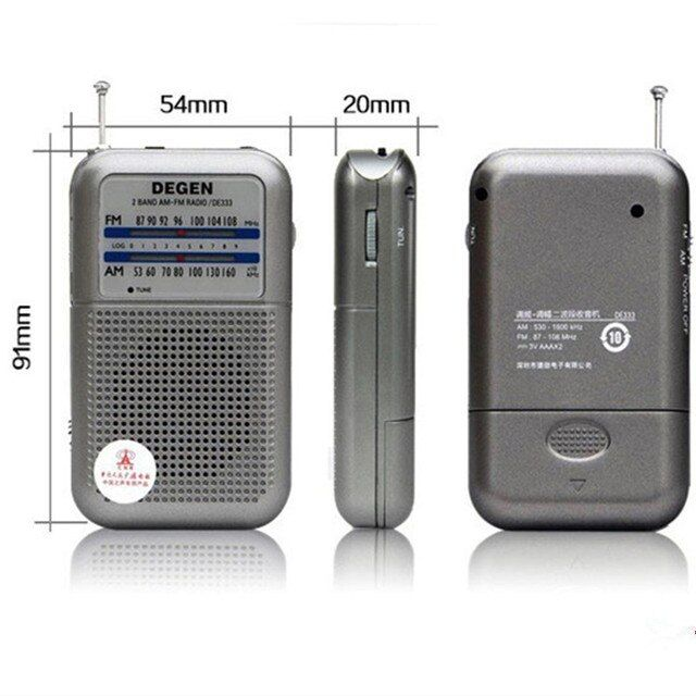 Best price Degen radio DE333 FM AM Radio Receiver Mini Handle Portable Two Band FM Radio A0796A Wholesale free shipping