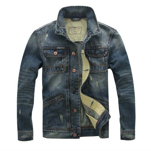 2016 jacket mens jackets and coats man jeans jackets Denim military Stand collar coat male