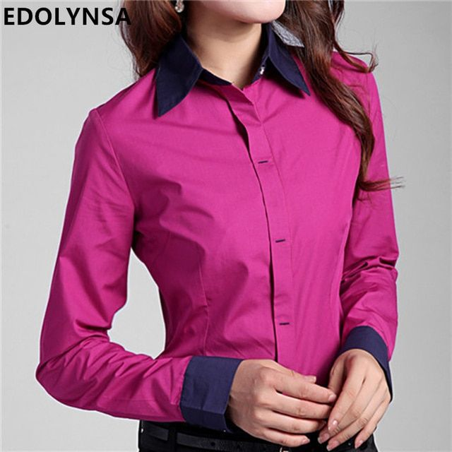 Shirts Blouses 2017 Plus Size 5XL 6XL Women's Tops Cotton Button Down Long Sleeve Shirts Formal Tunic Blouse Top Blusas Feminina
