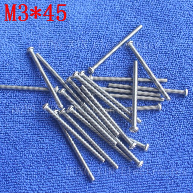 M3*45 1pcs 304 Stainless Steel Screw 45mm Round Head Screws Phillips Crosshead Thread Bolt Brand new high-quality fastener tools