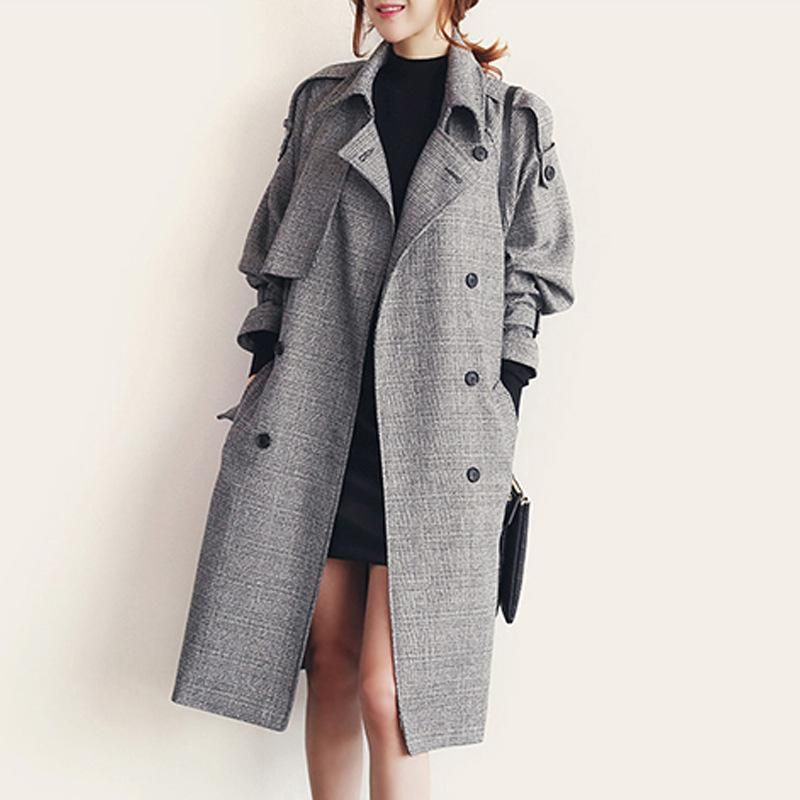 2017 Autumn And Winter Korean Version Of The X-Long Woolen Coat Wool Coat Double-Breasted Plaid England Style Vintage Parka