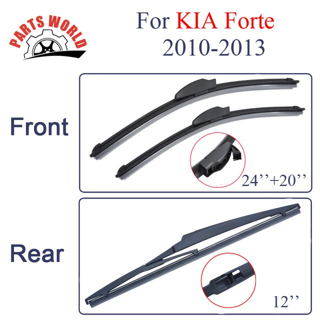 Combo Silicone Rubber Windscreen Front And Rear Wiper Blades For KIA Forte,2010-2013.Windshield Wiper Car Accessories 24''+20''