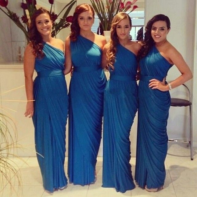 Cheap One Shoulder Bridesmaid Dress Navy Blue/Champagne/Red/Silver/Yellow Chiffon Bridesmaid Dresses Custom made plus size dress