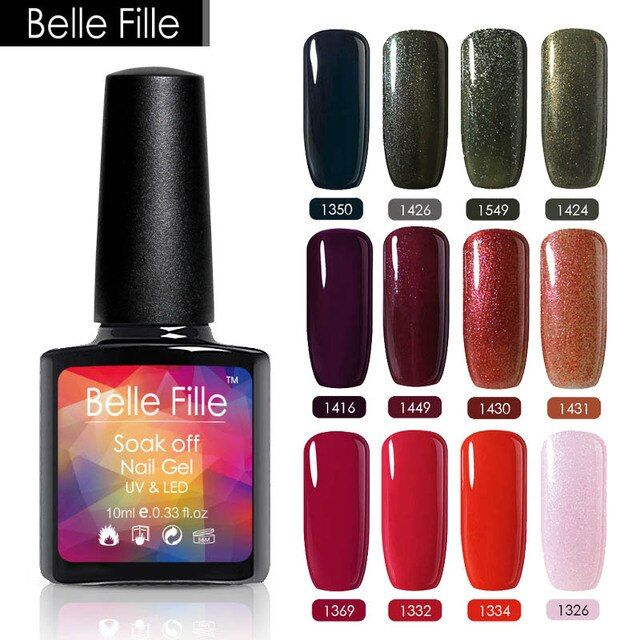 Belle Fille 10ml Color Nail Gel Polish Soak Off Varnishes Hybrid Holographic Glitter Gel Lacquer Nagellak Nail Varnish Printing