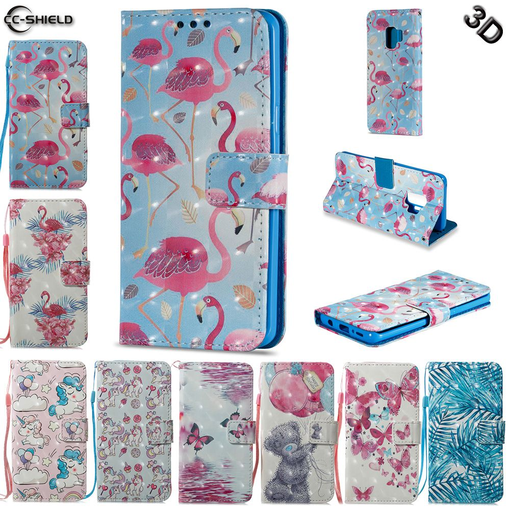 Case for Samsung Galaxy S9 Plus S9Plus G965F G965F/DS Flamingo Unicorn Flip Leather Wallet Cover Phone Case SM-G965F SM-G965F/DS