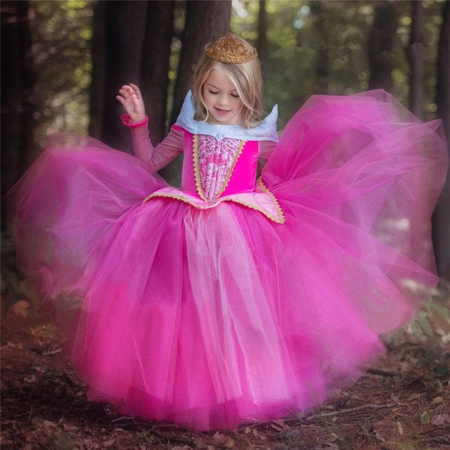 Sleeping Beauty Dresses Girls Princess Anna Elsa Cosplay Costume Teens Kid's Party Dress Girls Clothes Long Fancy Ball Gown