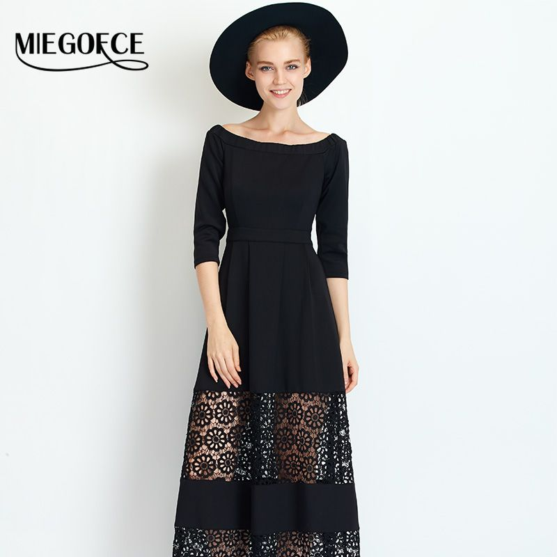 Long Dress Women Work Casual Elegant Lace Dress 3/4 Sleeve Mature Stylish Office Dress MIEGOFCE New Spring Autumn Collection Hot