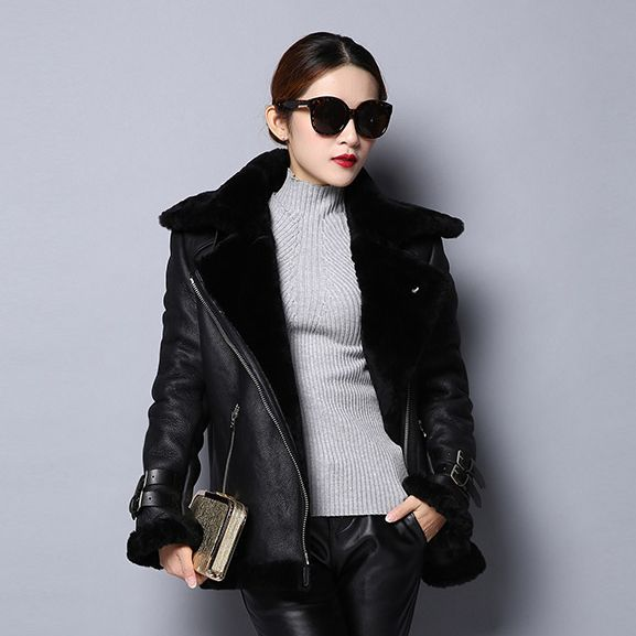 Fur Story 151248  Double Faced Fur New Women's Natural Lamb Fur Jacket with Real Fox Collar Couple Style Unisex Coat