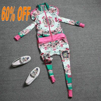 Free shippingThe 2015 spring Couture new personality leisure printing sweater two piece set significantly thinner