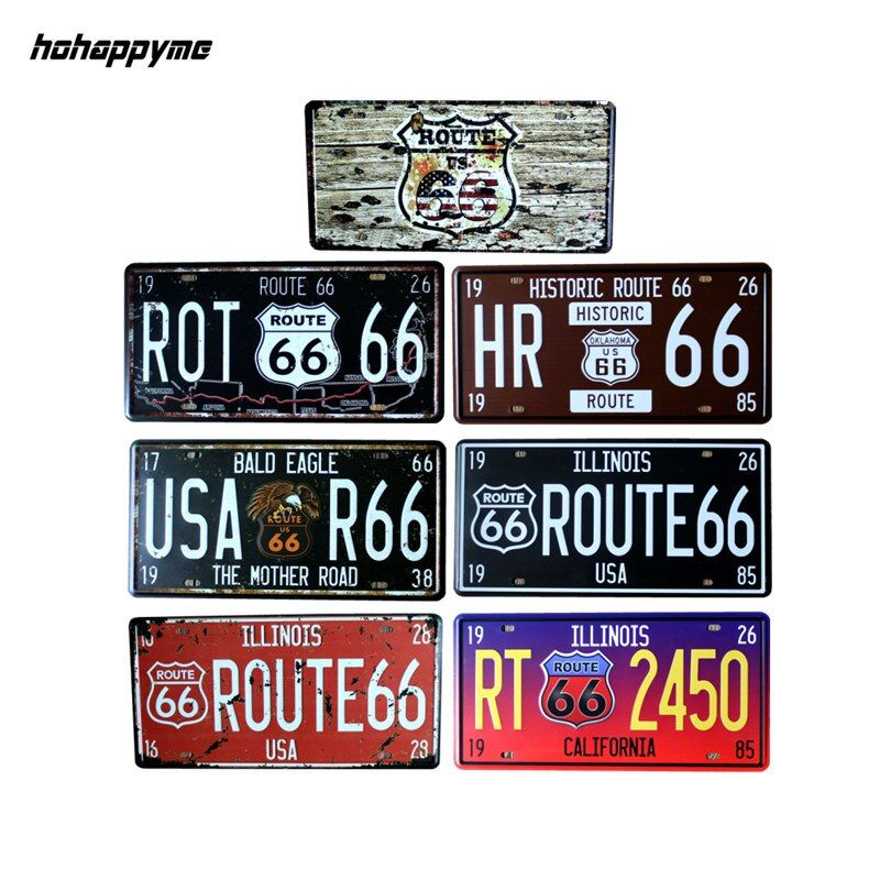 15*30 cm Route 66 Metal Sign Car Number License Plates Garage Signs Vintage Tin Plate Wall Decor Plaque