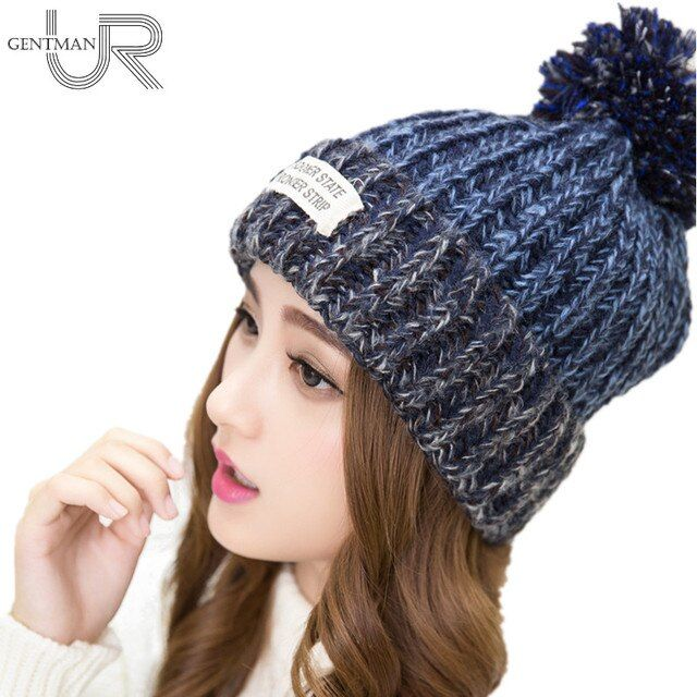 New Fashion Woman's Warm Woolen Winter Hats Knitted Fur Cap For Woman Sooner State Letter Skullies & Beanies 6 Colors Hat