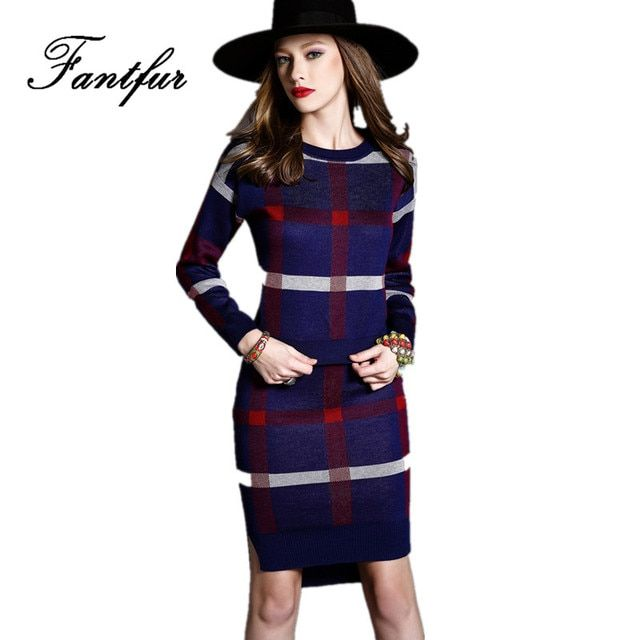 New Long Sleeve Knitted Sweater Skirt Suits Women Plaid Top Warm Slim OL Skirt Women's 2 Piece Sets