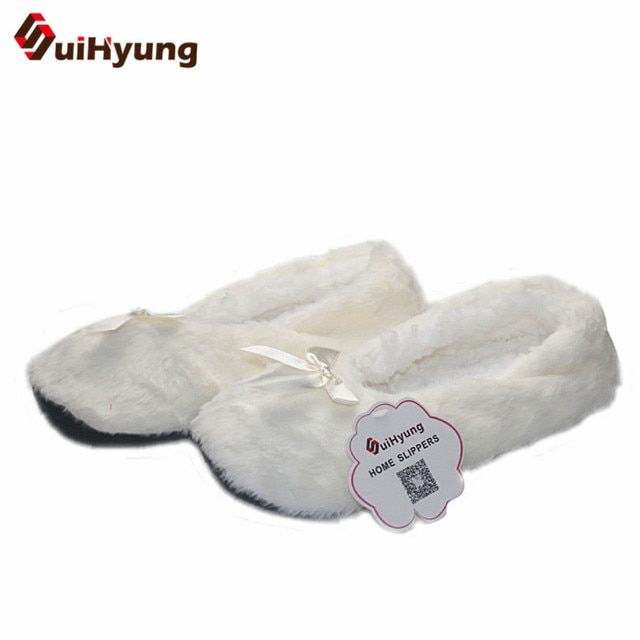 100% Real Picture Winter Women High-top Cotton Slippers Warm Plush Indoor Shoes Non-slip Soft Bottom Home Floor Slippers