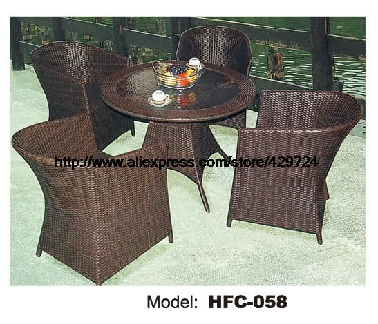 Classic Balcony Furniture Rattan Round Table Chair Set 0.8M Wicket Table 4 Chair Gardern Furniture Outdoor Vine Rattan Set