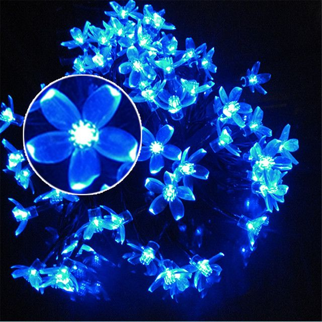 YIYANG 200 Cherry Flower Sakura Pendant LED Solar String Lights Decoration Christmas Party Outdoor Garden La Luces Solares 22M