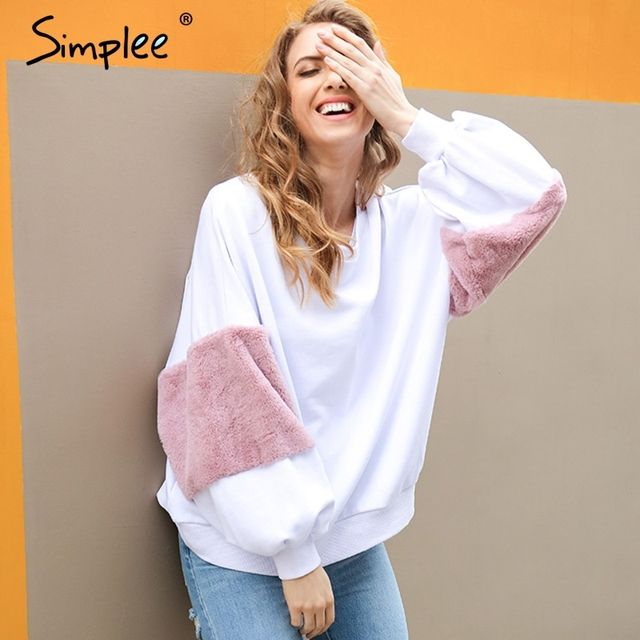 Simplee Spring faux fur hoodies sweatshirt Casual oversize white sweatshirt women jumper fashion patchwork long sleeve pullover