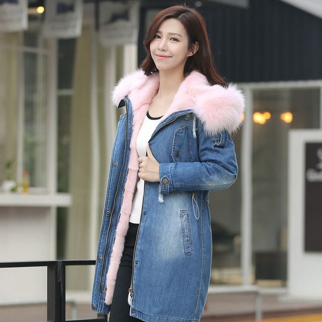 Luxurious Mink Fur Coats Women Fox Hooded Coat Spring Jackets Warm Winter Pink Fur Lined Outwear Female Fast Shipping 2017 New
