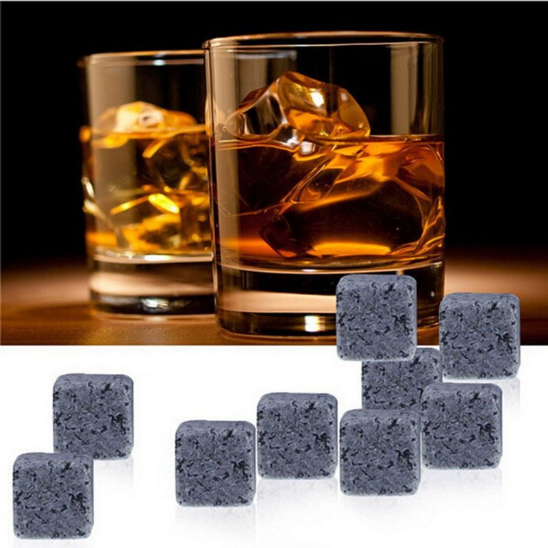 9pcs/lot Natural Whiskey Stones New Magic Whisky Cooling Stone Ice Cubes Rocks Bar Cold Glacier Stone