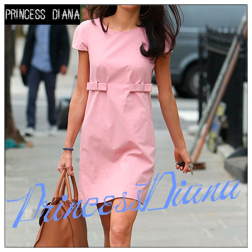 European Style New Arrival Womens Summer Dresses 2016 Summer Pink Casual Short Sleeve Runway Fashion Office T Shirt Dress