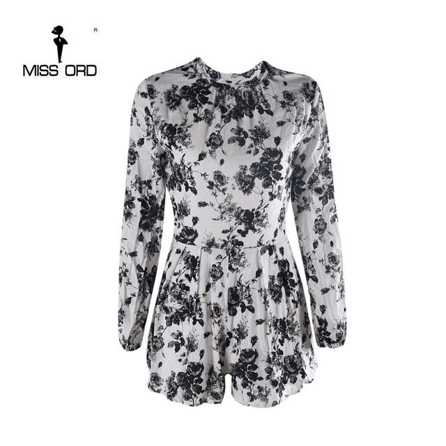 Free Shipping  Missord 2015 Sexy high-necked long-sleeved Printed playsuit FT5186