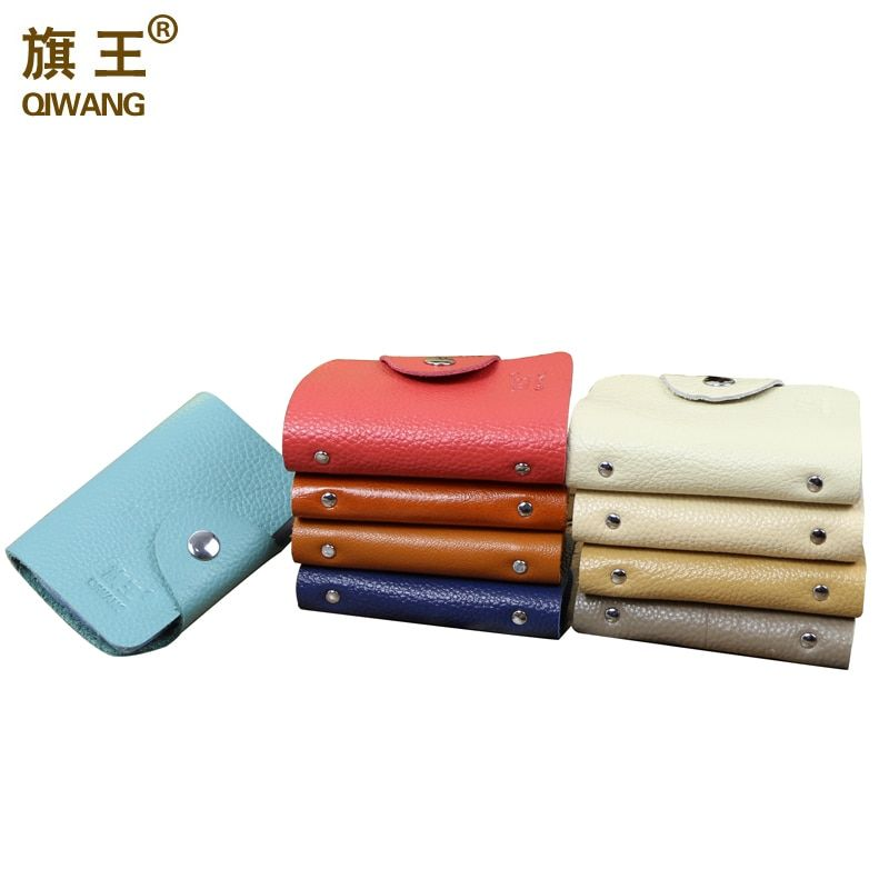 QIWANG Women Genuine Leather Credit Card Holder Women ID Card Books Men Credit Card Wallet 20 Holders Wallet for Credit Cards