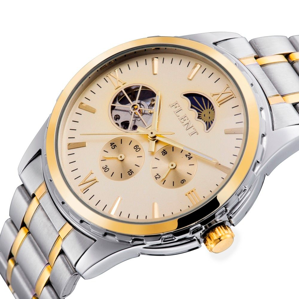 Men Automatic Watch, Full Steel Band Moon Phase Second Hand Business Mechanical Watches